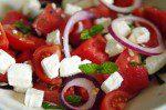 Simple 5-2 Diet Friendly Salads - Feta Watermelon, Tomato