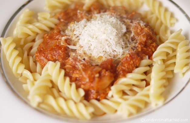 Turkey Bolognese close
