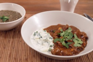 Low Calorie Rogan Josh with Cucumber Raita