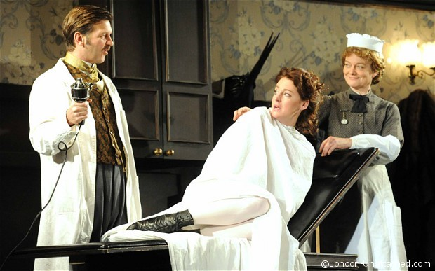 Jason Hughes as Dr Givings, Flora Montgomery as Sabrina, Sarah Woodward as Annie in In the Next Room or the Vibrator Play
