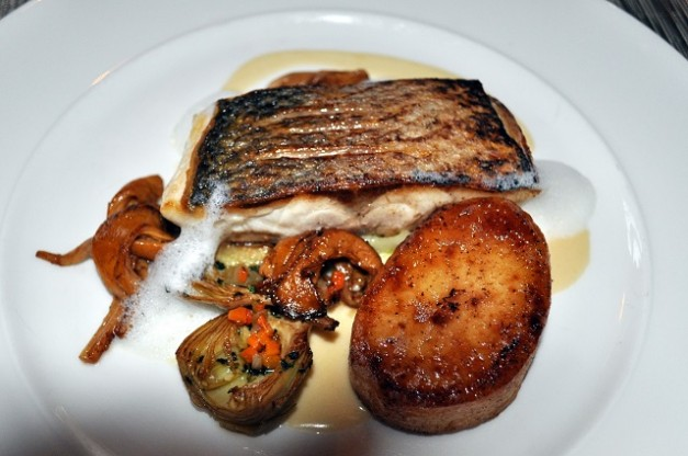 Pan Fried Cornish Sea Bass, Confit Leeks, Artichoke, Girolles, Fondant Potato, Mushroom Foam