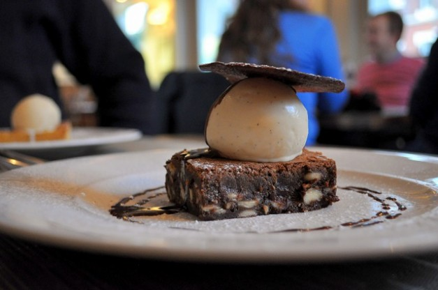 White Chocolate Hazelnut Chunk Brownie, Vanilla Ice Cream, Chocolate Tuile