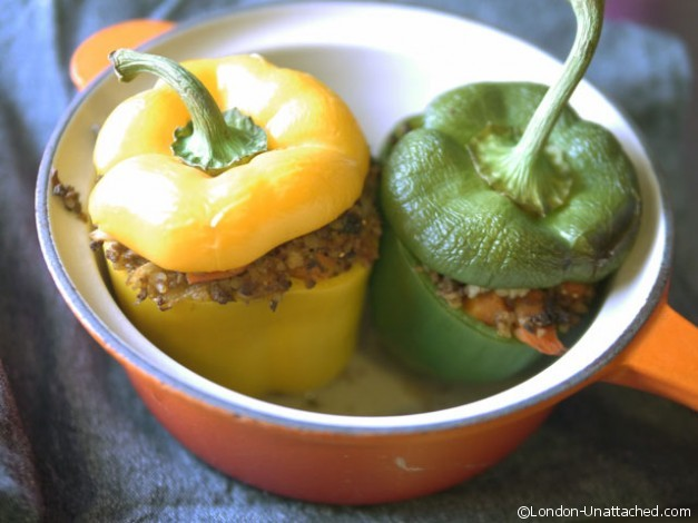 Quorn stuffed peppers in pan