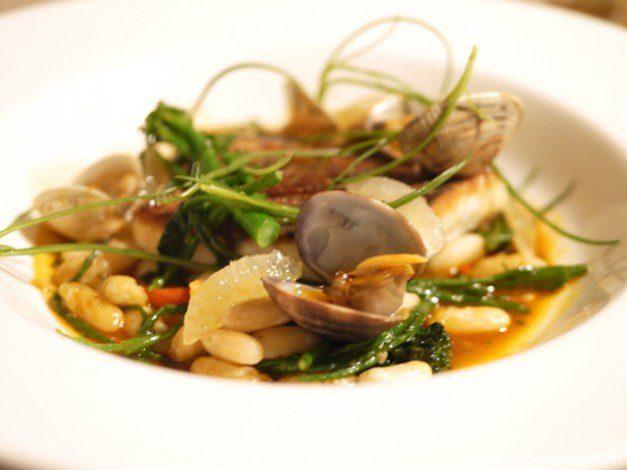 Mele e Pere roast stone bass with clams