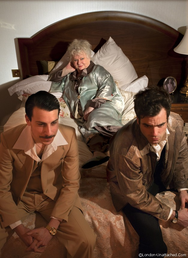 The Hotel Plays (Sunburst) at The Langham Hotel. Jack Mann (Luigi), Carol Macready (Miss Sails) and Daniel Ings (Giuseppe). Photo credit Simon Annand.