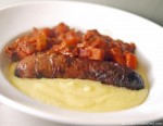 Wild Boar and Apple Sausage with Tomato Sauce and Polenta