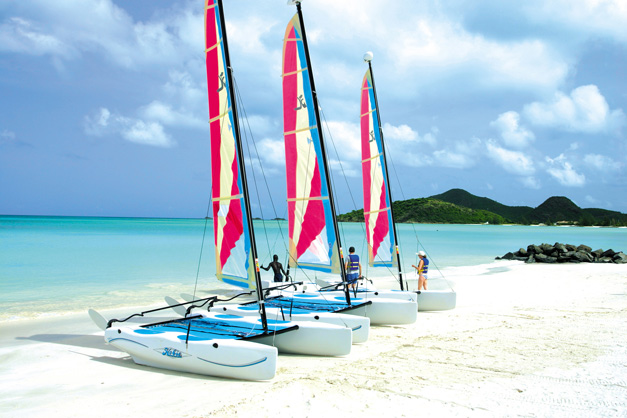 Antigua sailing Hobie Cats at Jolie Beach