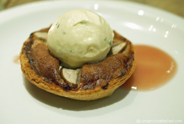 Cadogan Arms Pear and Walnut Frangipane Tart with Burnt Honey and thyme Ice Cream