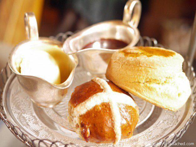 Gilbert Scott Easter afternoon Tea - hot cross bun and scone