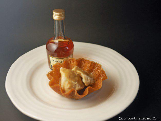 Banana Brandy Snap Baskets with Brandied Salted Butterscotch Sauce