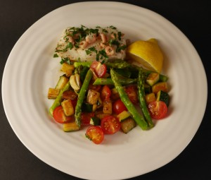Cod with Brown Shrimps and a Medley of Summer Vegetables