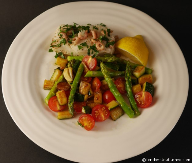 Cod with Brown Shrimp 5-2 Diet Recipe