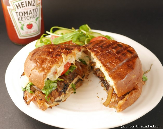 portabello mushroom burger cut - side
