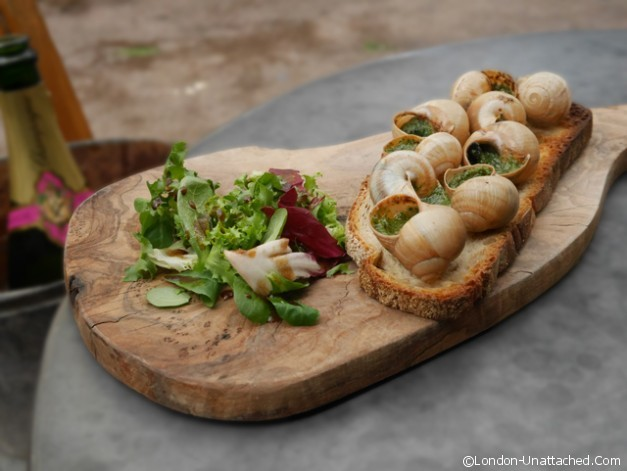 Champagne and Fromage Snail Tartine