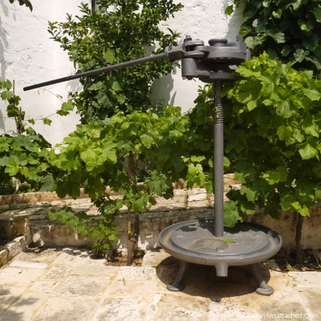 Old equipment at Masseria Il Frantolio