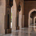 Grand mosque tiled corridors