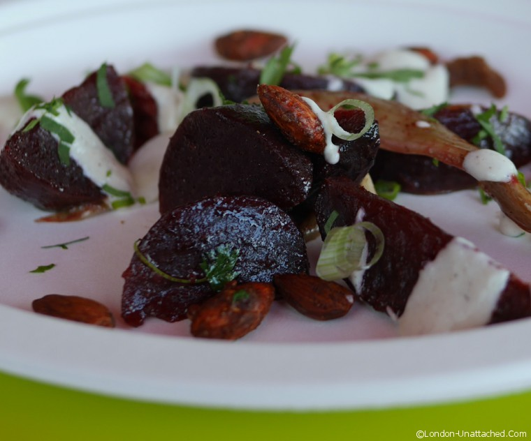 Ceru Beetroot with almonds and creme fraiche