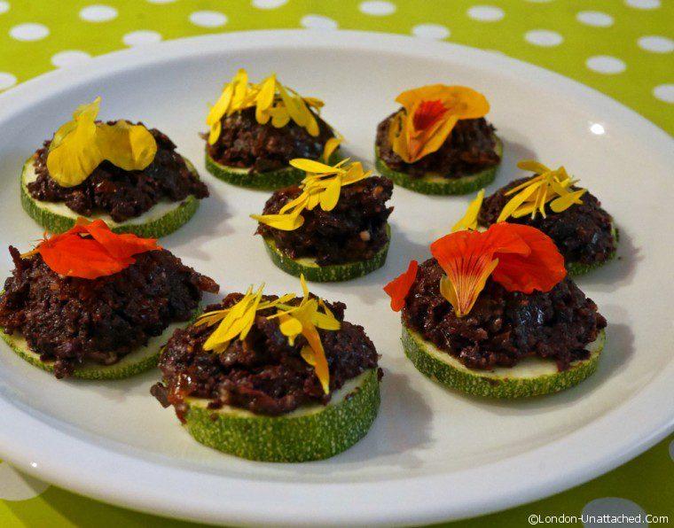 Vegetarian Tapenade on Courgette Bruchetta