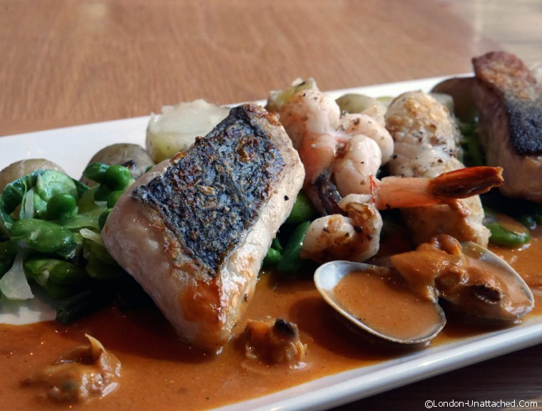 Nobles - fish mixed grill with shellfish bisque