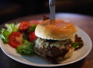 Welsh Lamb Burger with Blue Cheese and Damson Chutney