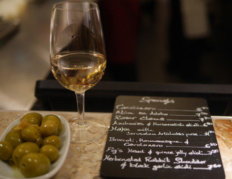 Barrafina olives and sherry