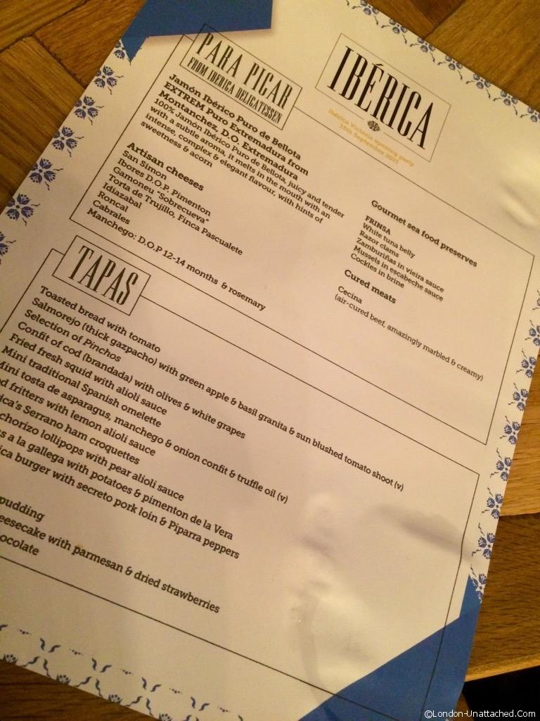 Iberica Victoria menu