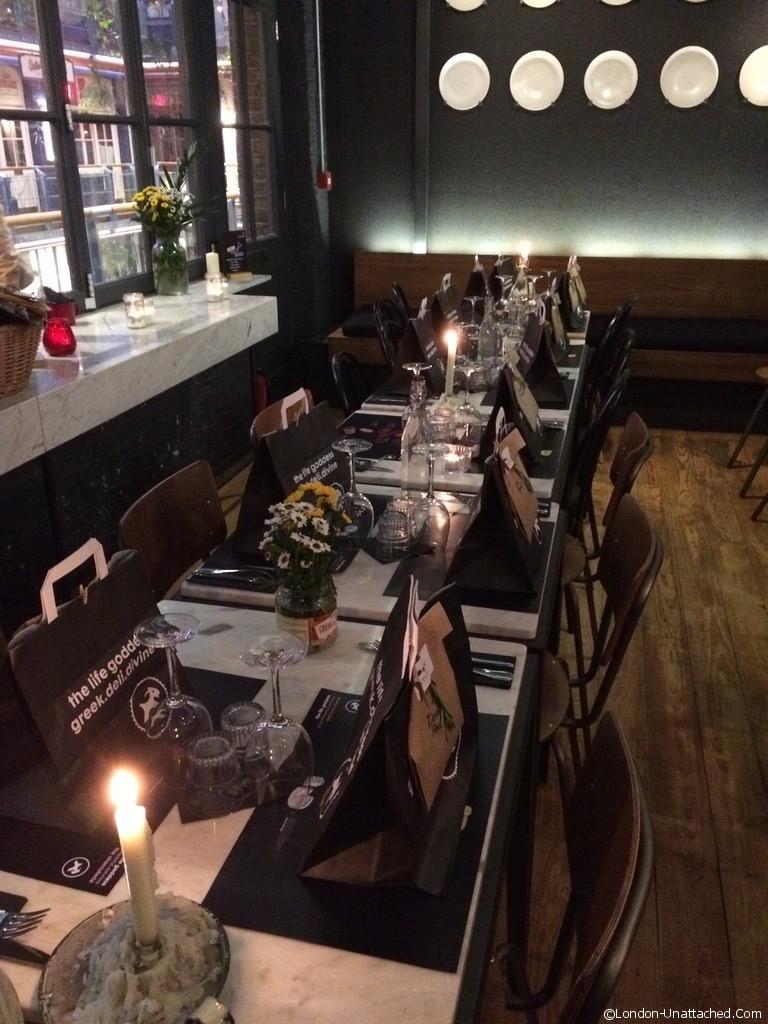 crete feast at the life goddess greek restaurant london