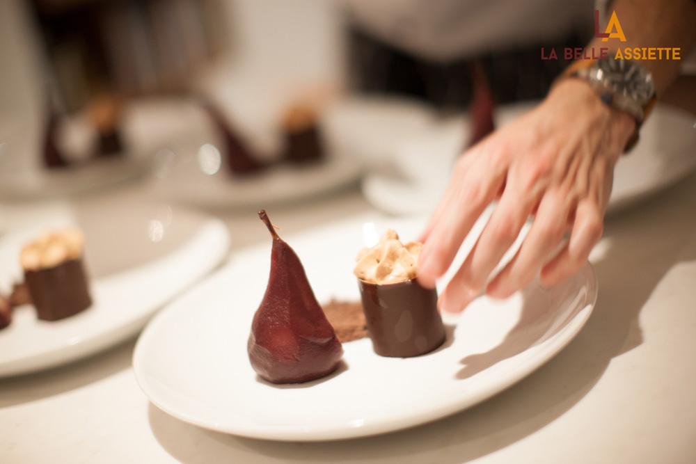 La Belle Assiette Dessert being plated Tony Rodd