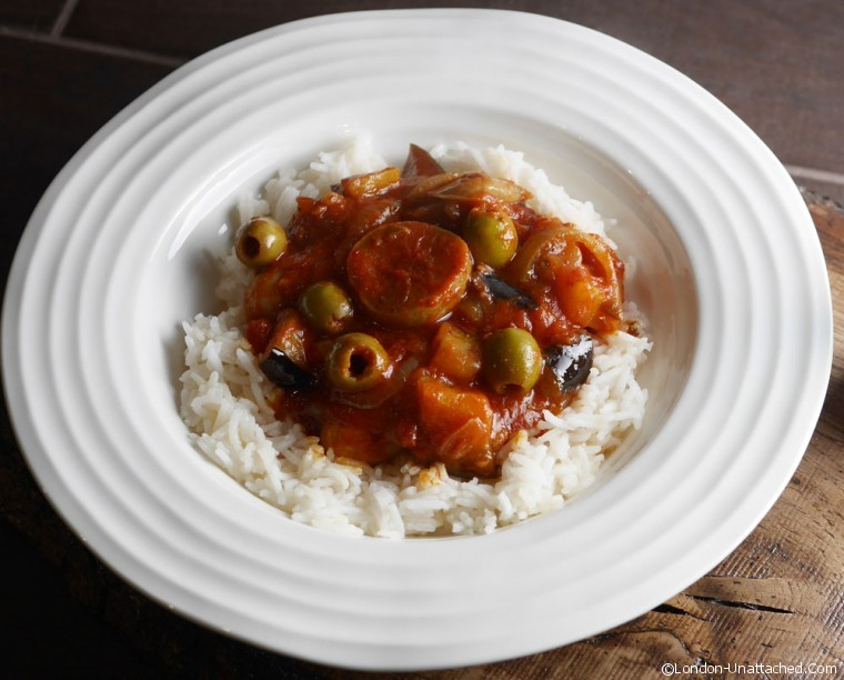 Moroccan style sausage casserole finished