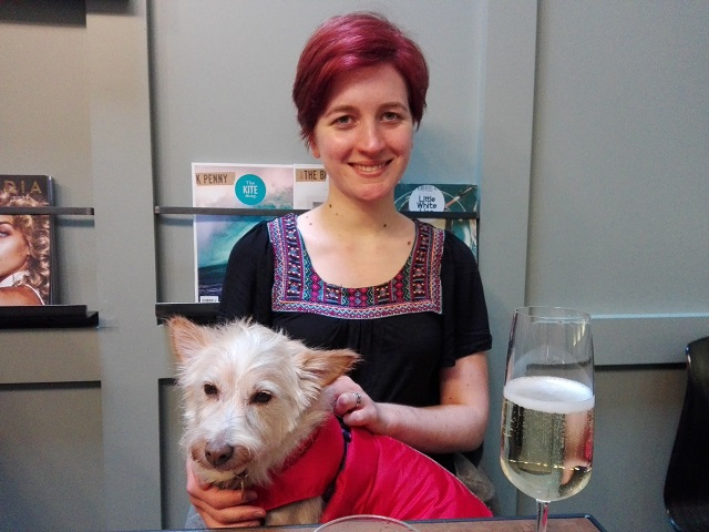 My wife and our cute little dog, Missie