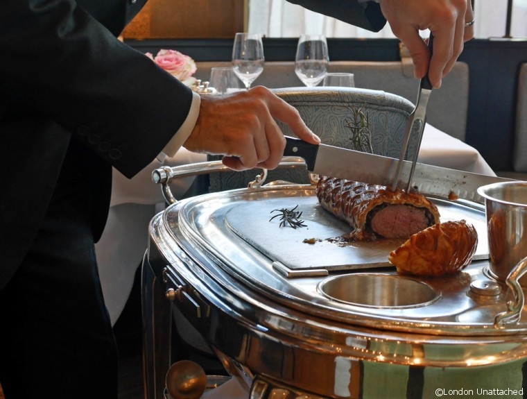 Roux at the Landau Beef Wellington being carved