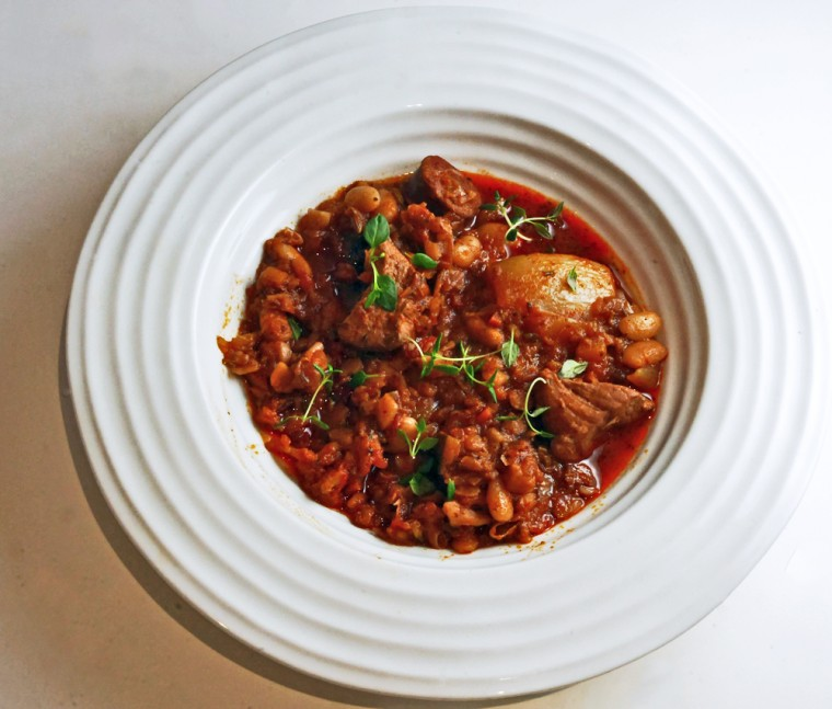 Pork, chorizo and white bean casserole
