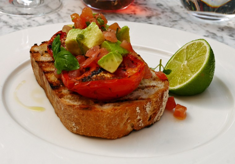 Dalloway Terrace Tomato and Avocado Bruschetta