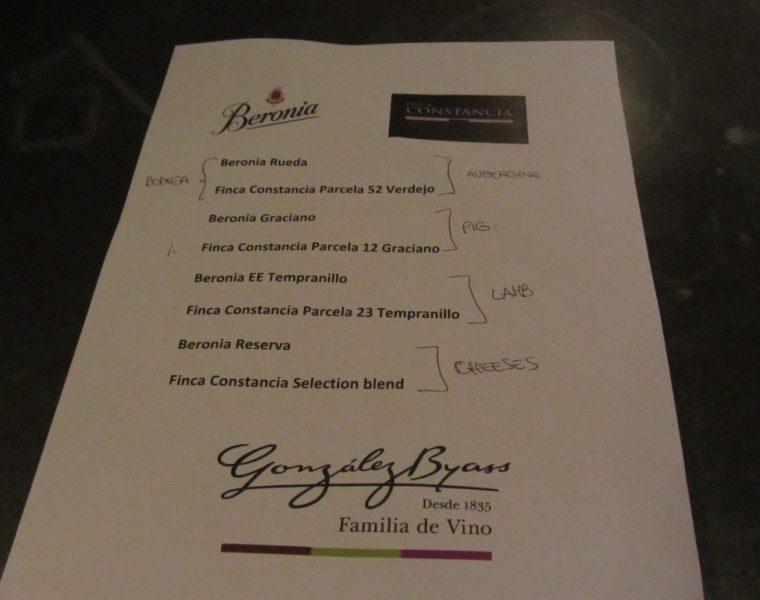 Wine makers dinner - menu