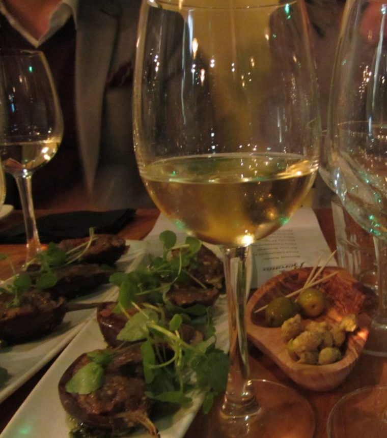 wine makers dinner - aubergines with wines