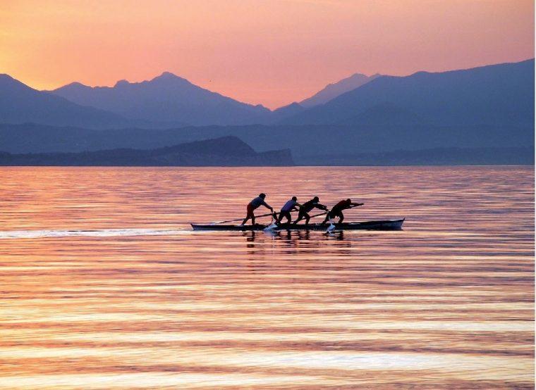 Garda - sunset over lake garda italy