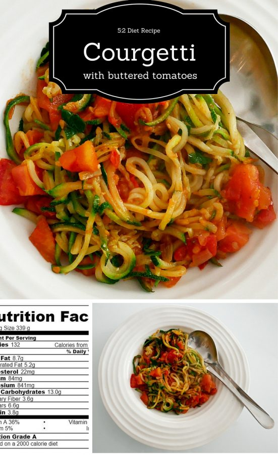 5-2 Diet Recipe - courgetti with buttered tomatoes