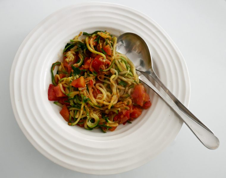 Courgetti and Buttered Tomato - 5:2 diet