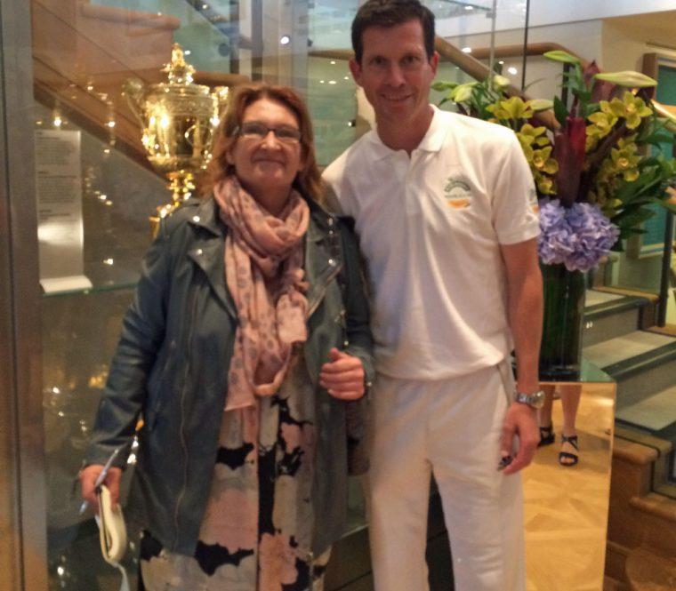 Sarah in the Trophy Room at Wimbledon