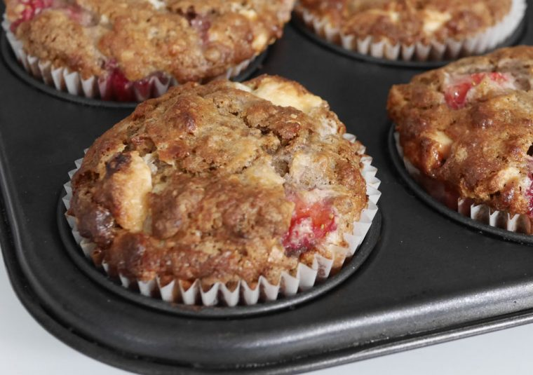 strawberry and white chocolate breakfast muffins d