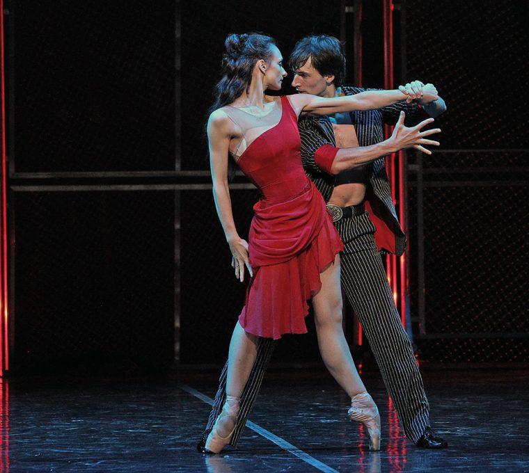 St Petersburg Ballet Theatre: Her Name Was Carmen at the London Coliseum 22/08/16 Yuri Kovalev (Garcia) and Irina Kolesnikova (Carmen) Photo: Marilyn Kingwill