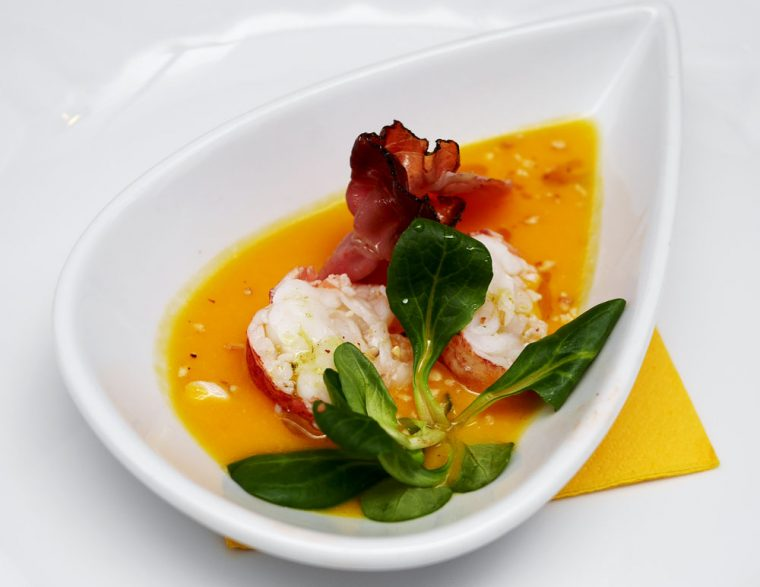 Lobster and pumpkin soup