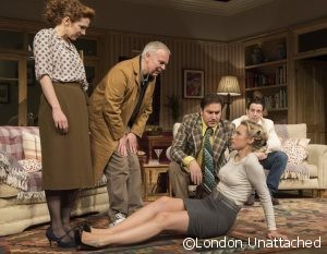 Dead Funny performed at the Vaudeville Theatre Katherine Parkinson as Eleanor, Steve Pemberton as Brian, , Rufus Jones as Richard; Emily Berrington as Lisa; Ralf Little as Nick, ©Alastair Muir 01.11.16