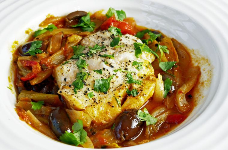 Cod with Fennel and Olives Served