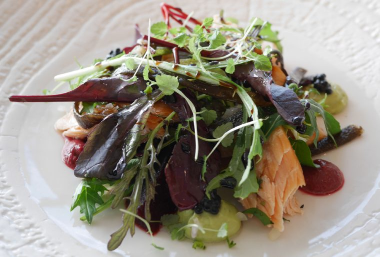 Hot Smoked Salmon with textures of beetroot