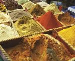 Multi-coloured spices for sale at souq Waqif
