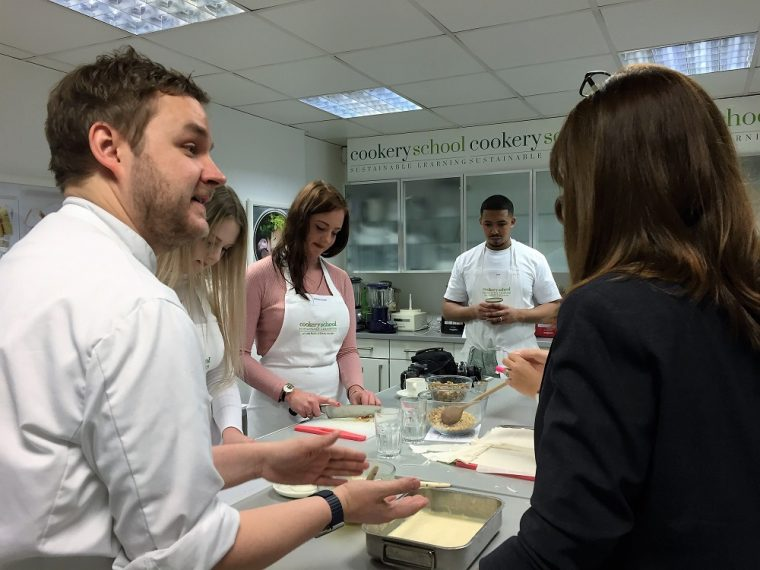 Making baklava in the cookery school