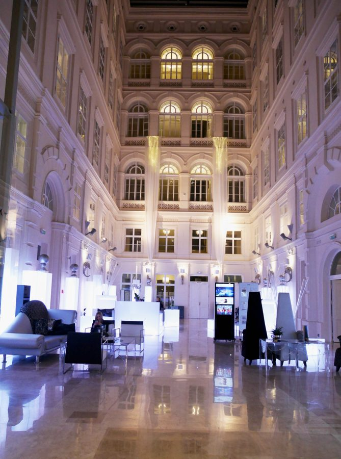 Hotel Lobby at Night Barcelo Brno Palace
