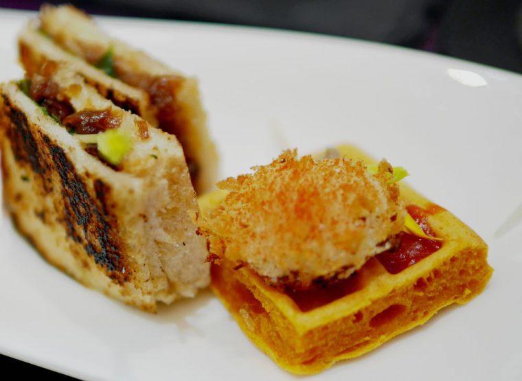 Idiazabel sandwich and Broken eggs on Waffle