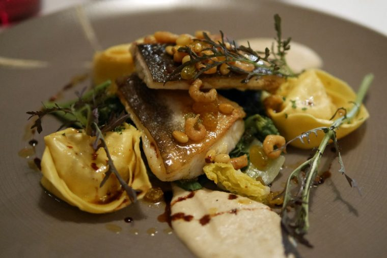 Halibut, Pumpkin tortellini, raisins and brown shrimps vinaigrette